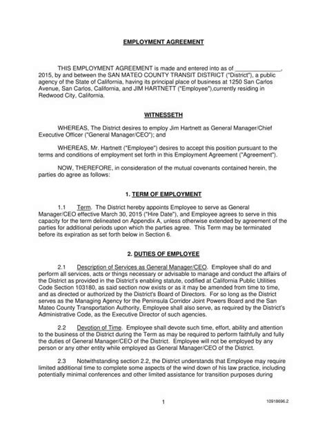 Free 16 Employment Agreement Executive Templates In Pdf