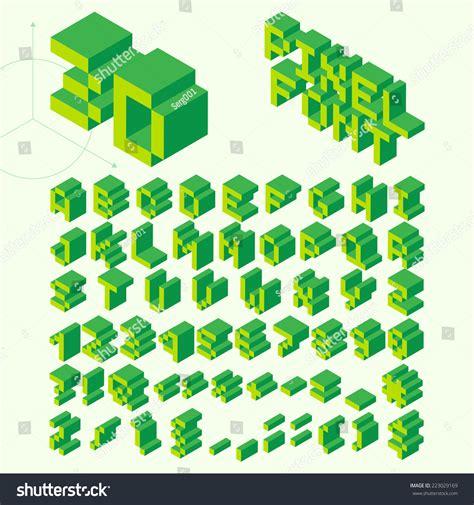 Green Isometric Pixel Font Vector Letters Stock Vector