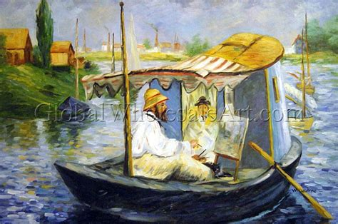Manet Monet In His Studio Boat by Edouard Manet Monet Painting In His Studio Boat