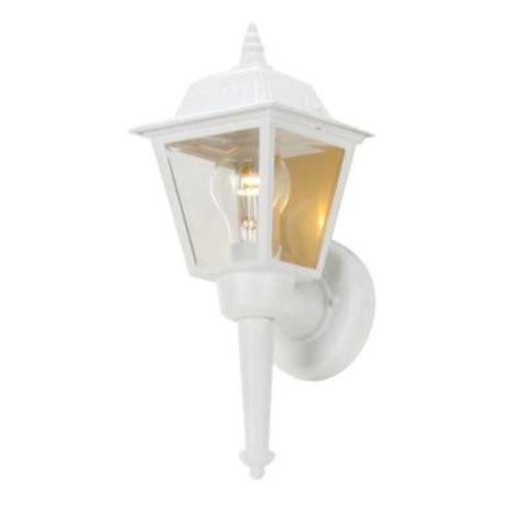 hton bay 1 light white outdoor wall lantern bpl1611 wht the home depot