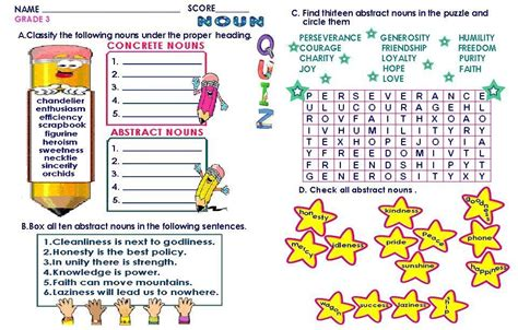 grammar worksheets grade  abstract concrete nouns