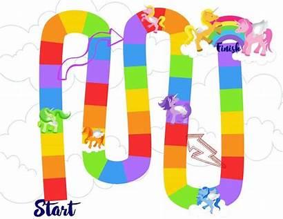 Board Printable Unicorn Rainbow Preschoolers Fun Games