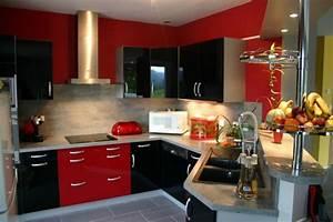 decoration cuisine rouge et noir With idee deco cuisine avec cuisine rouge et noir