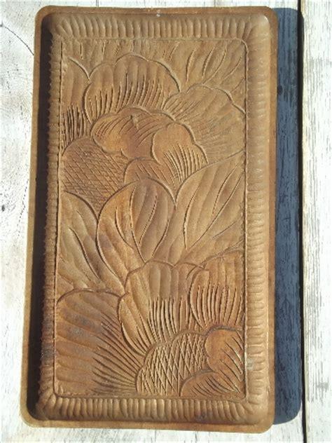 hand carved acacia wood tray   vintage tray
