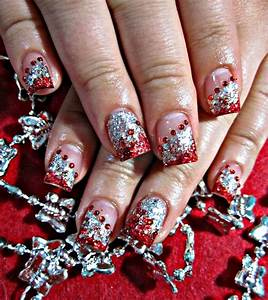 Red and silver acrylic nails | Prom. | Pinterest ...