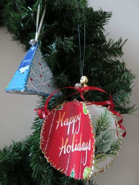 diy christmas craft ornaments from recycled greeting cards