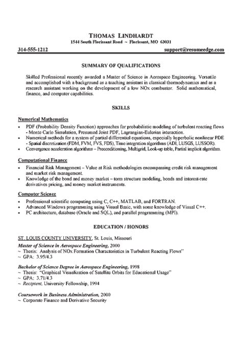Aerospace Resumes Sles by Aerospace Engineer Resume Exle