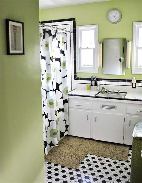 black white tile bathrooms done different ways lentine