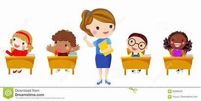 Teacher Elementary Class Children Having Illustration Classmate
