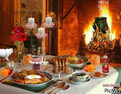 Breakfast Gifs Christmas Table Cozy Picmix Fire