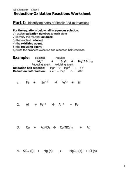 Writing Redox Reactions Worksheet  Kidz Activities