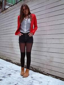 #high knee #socks #short #red #blazer #timberlands | Outfits | Pinterest | Blazers High knees ...
