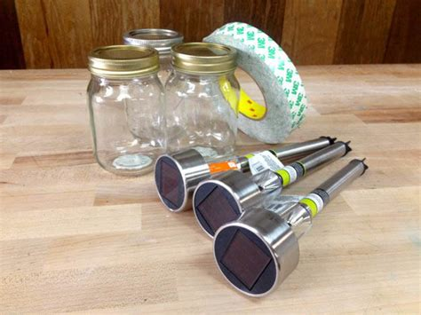 how to make outdoor solar lights dollar store crafts how to make mason jar solar lights