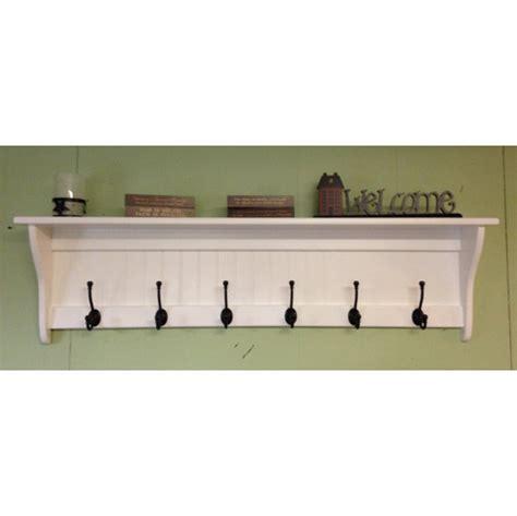 coat rack wood country wall shelf white   wide display wall shelf