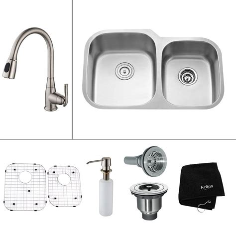 all in one sink kraus all in one undermount stainless steel 32 in double
