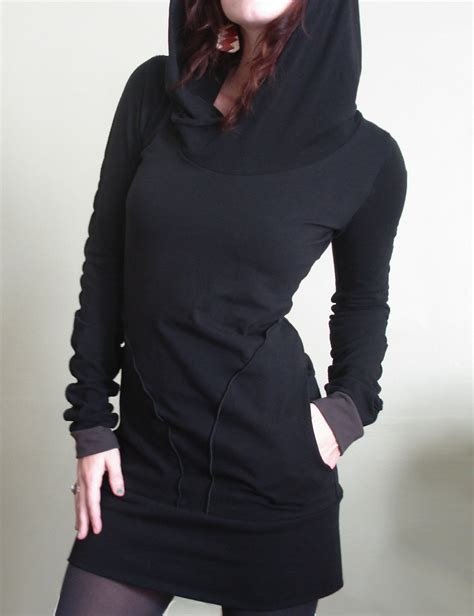 pocket hooded dress hooded tunic dress with pockets black cement cuffs by