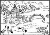 Landscapes Coloring Landscape Asian Pages Adult Scapes sketch template