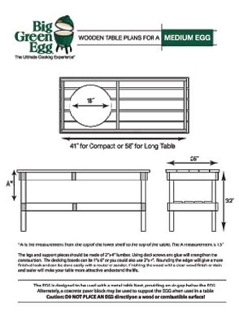 plans for large green egg table egghead packets manuals guides