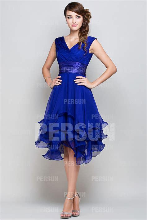 robe bleue mariage femme robe de cocktail bleu royal col en v en mousseline persun fr