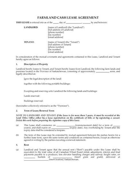Farm Partnership Agreement Template by Saskatchewan Farm Land Lease Agreement Forms