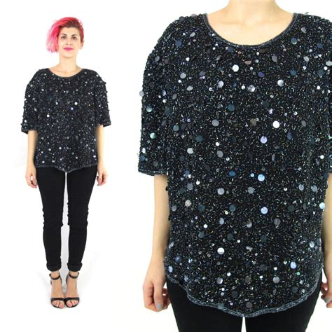 beaded blouse 80s black sequin blouse beaded silk sequin top indian silk