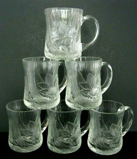 """Buy glass coffee mugs and get the best deals at the lowest prices on ebay! Arcoroc France Canterbury Crocus Mugs Glass Coffee Tea Cups 4"""" tall Set of 6 #Arcoroc # ..."""
