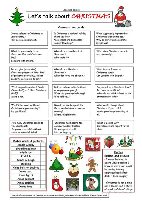 Let's Talk About Christmas Worksheet  Free Esl Printable Worksheets Made By Teachers
