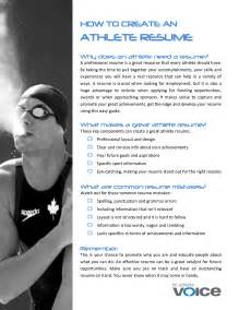 professional athlete resume sle