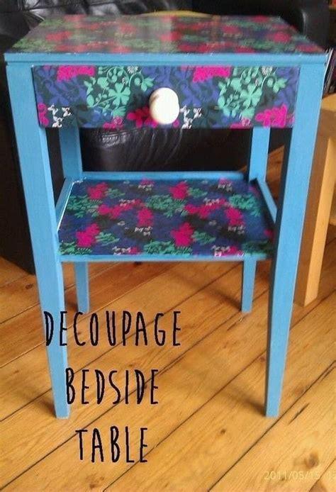 decoupage bedside table     bedside table