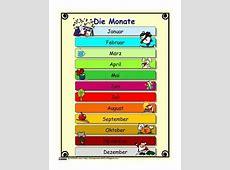 Die Monate auf Deutsch German Months and calendar by