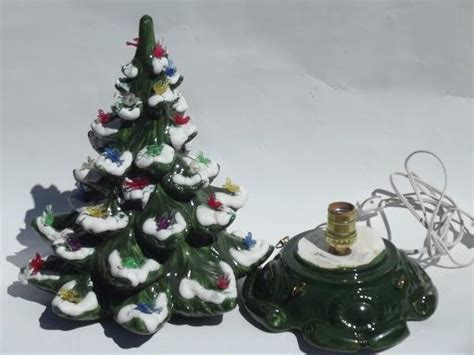 music box for christmas tree lights 60s 70s vintage handmade ceramic box tree w dove lights