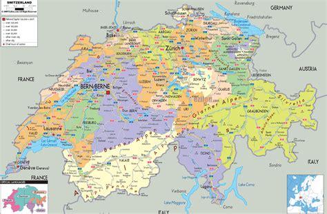 Carte Suisse by Political Map Of Switzerland Ezilon Maps
