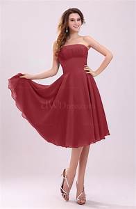 dark red simple a line sleeveless backless pleated wedding With backless dress wedding guest