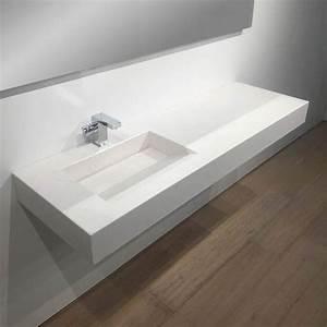 Vasque Pierre Salle De Bain : plan vasque salle de bain suspendu 141x46 cm excentr calacatta ~ Teatrodelosmanantiales.com Idées de Décoration