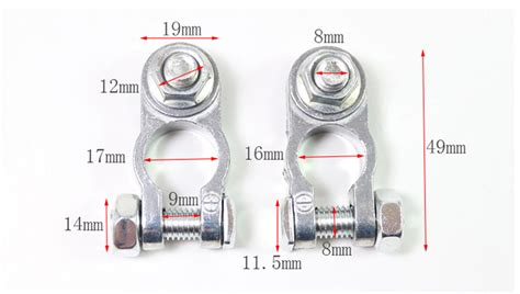Pair Of Car Battery Terminals Heavy Duty Stud Type 8mm
