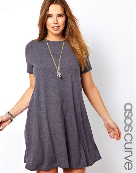 asos curve swing dress lyst asos swing dress with sleeves in gray