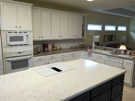 Silestone: Lusso Island and Sahara Blue Kitchen Countertops