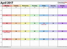 April Excel Sheet Calendars Print Blank Calendars