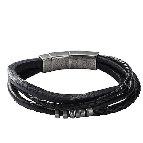fossil herren armband quot jf85299040 quot leder edelstahl karstadt shop