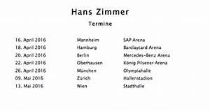 Hans Zimmer Nürnberg : filmmusik live hans zimmer auf tour ~ Orissabook.com Haus und Dekorationen