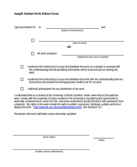 20119 work release form sle work release form 10 free documents in word pdf