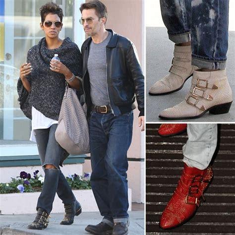 celebrities wearing studded chloe ankle boots popsugar