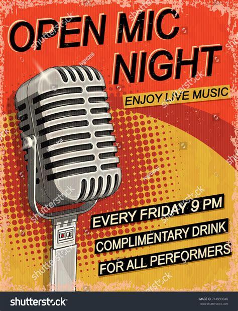 foto de Open Mic Night Vintage Poster Stock Vector 714999040