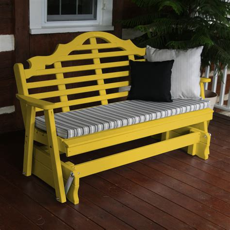yellow outdoor bench a l furniture yellow pine marlboro outdoor bench glider