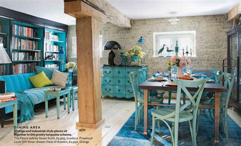 industrial  antique turquoise themed living interiors