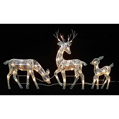 northlight   christmas outdoor decoration white glittered doe fawn  reindeer lighted