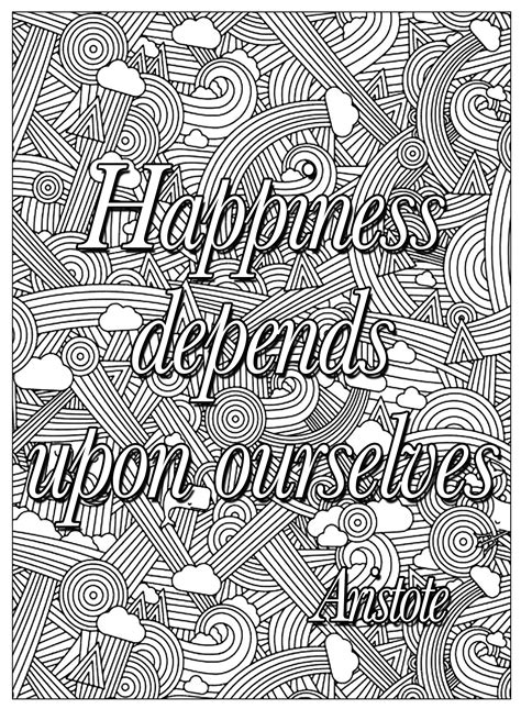 happiness depends   quotes adult coloring pages