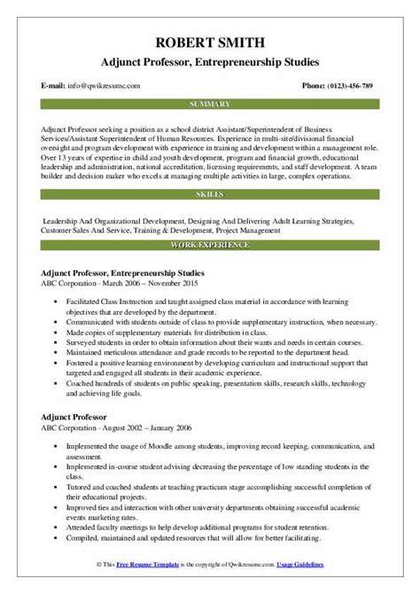 Sle Adjunct Professor Resume by Adjunct Professor Resume Sles Qwikresume