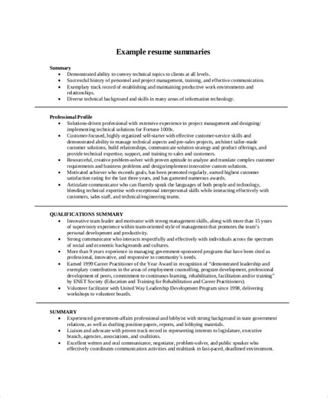 resume summary samples examples templates