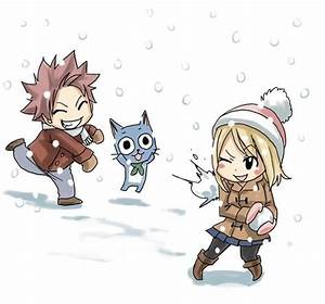 Happy Natsu and Lucy(see the pun)-Fairy Tail snowball ...